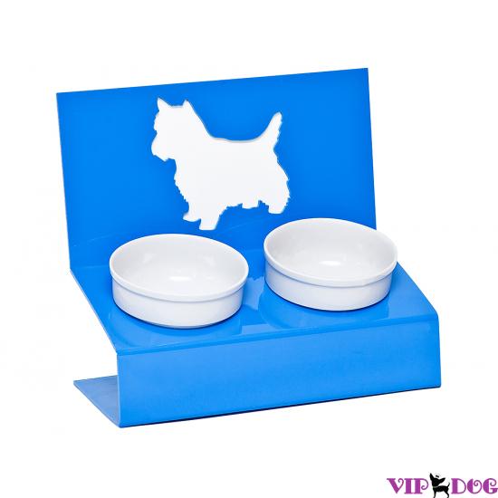 """Миски на подставке """"Любимая собачка"""" голубая"""