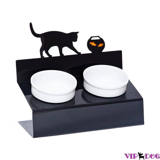 """Миски на подставке """"Кот и рыбы"""" черная"""