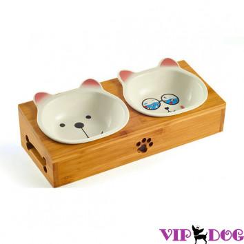 """2226 Миски """"Мишка и очки"""" на подставке"""