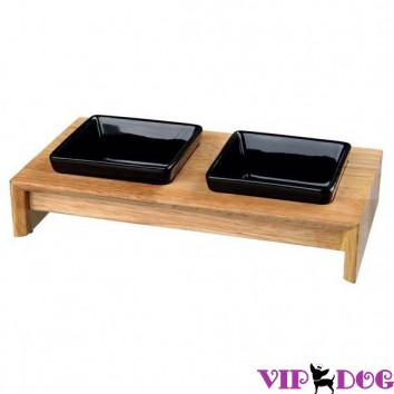 24820 Миски керамические в деревянной подставке
