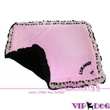 """Плед """"Fur"""" черный с розовым"""